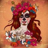 Menina com Sugar Skull, dia dos mortos Fotografia de Stock