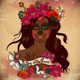 Menina com Sugar Skull, dia dos mortos ilustração stock