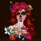 Menina com Sugar Skull, dia dos mortos Imagens de Stock Royalty Free