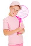 Menina com tênis dos jogos fotos de stock