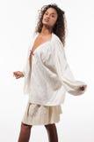 Menina com túnica de tamanho grande, retrato Imagem de Stock