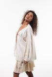 Menina com túnica de tamanho grande, retrato Foto de Stock Royalty Free