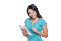 Menina com tabuleta digital Fotografia de Stock