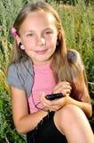 Menina com telefone imagens de stock