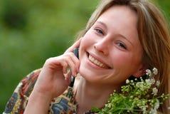 A menina com telefone Foto de Stock