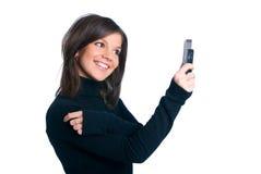 A menina com telefone Fotos de Stock