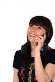 A menina com telefone. imagens de stock