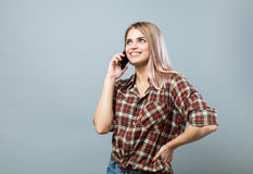 Menina com telefone Foto de Stock
