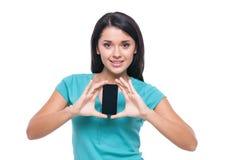 Menina com telefone celular Imagens de Stock Royalty Free