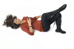 Menina com telefone móvel foto de stock