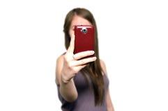 Menina com telemóvel Foto de Stock Royalty Free