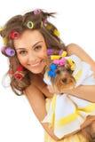 Menina com terrier de Yorkshire Fotografia de Stock
