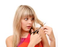A menina com tesouras Imagem de Stock