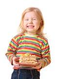 Menina com torta Fotografia de Stock