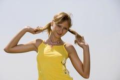 Menina com tresses Fotos de Stock Royalty Free