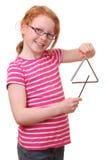 Menina com triângulo Imagens de Stock