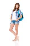 Menina com trouxa Fotos de Stock