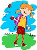 Menina com trouxa e maçã Foto de Stock Royalty Free