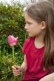 Menina com tulip Imagem de Stock Royalty Free
