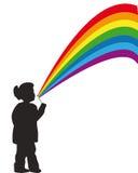A menina com um arco-íris Fotografia de Stock Royalty Free