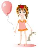 A menina com um balão. Imagens de Stock Royalty Free