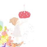 menina com um bolo de aniversário Foto de Stock Royalty Free