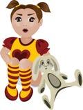 Menina com um brinquedo do coelho ilustração stock