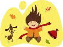 Menina com um cão que encontra-se na grama do outono ilustração royalty free