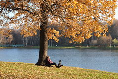 Menina com um cão que senta-se na costa da lagoa Fotos de Stock Royalty Free