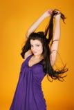 Menina com um cabelo levantado Imagens de Stock Royalty Free