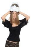 Menina com um capacete fotografia de stock royalty free