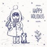 Menina com um cartão do cão Fotos de Stock