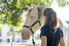 Menina com um cavalo Imagens de Stock Royalty Free