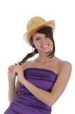 Menina com um chapéu dourado Fotos de Stock
