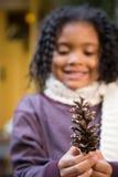 Menina com um cone do pinho imagens de stock royalty free