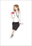 Menina com um copo ilustração royalty free