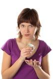 Menina com um copo nas mãos Fotos de Stock Royalty Free