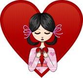 Menina com um coração Fotografia de Stock Royalty Free