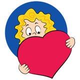 Menina com um coração grande Fotografia de Stock