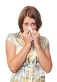 Menina com um frio e uma alergia Imagem de Stock