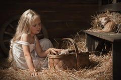 Menina com um gatinho no feno Imagens de Stock Royalty Free