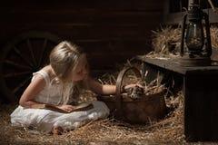 Menina com um gatinho no feno Foto de Stock Royalty Free