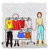 Menina com um grupo de verão da roupa ilustração stock