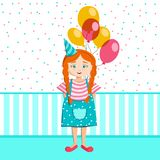 A menina com um grupo dos balões comemora o aniversário ilustração stock