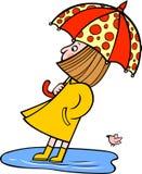 Menina com um guarda-chuva Ilustração do vetor Foto de Stock