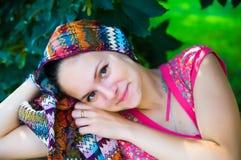 Menina com um lenço. Imagens de Stock Royalty Free