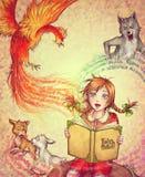 Menina com um livro dos contos de fadas Fotografia de Stock