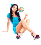 Menina com um lollipop Foto de Stock Royalty Free