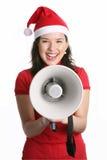 Menina com um megafone Fotografia de Stock