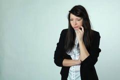 A menina com um mimicry descontentado imagem de stock royalty free